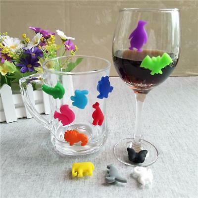 Pack 12 Animal Wine GLASS MARKERS Silicone Mixed Colour Set Perfect For Parties
