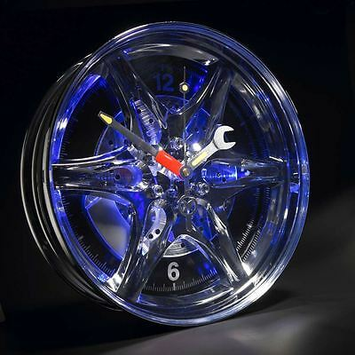 Neon Alloy Rim Wall Clock Blue LED Light Border Car Wheel Motoring Gift For Him