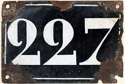 Large old black French house number 227 door gate plate plaque enamel metal sign