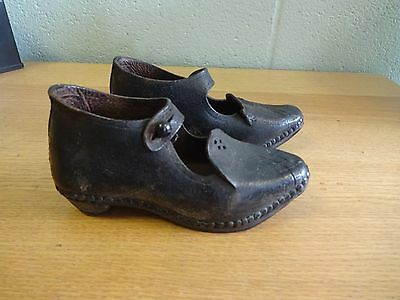 Antique leather Victorian Baby Clogs Child Shoe Wood Metal