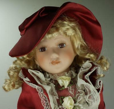 Porcelain Doll Hand Painted 40cm Beautifully Attired in Original Box SA54