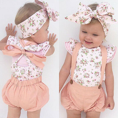 UK Stock Cute Newborn Baby Girls Floral Romper Jumpsuit Bodysuit Clothes Outfits