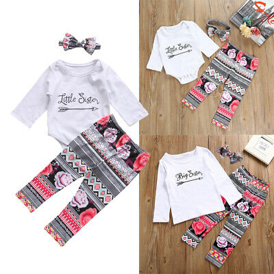 Kids Baby Girl Clothes Little Big Sister T-shirt Romper+Long Pants Outfits Set