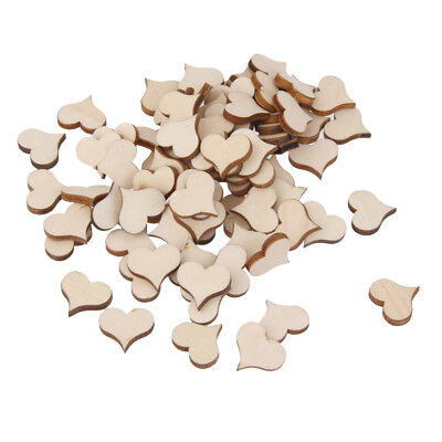 100pcs Wood Shape Cut Out Mini Hearts Embellishment for Vintage Craft 11x3mm