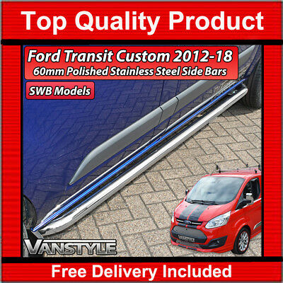 Ford Transit Tourneo Custom Polished Swb Sportline Bar Side Bars S.steel Chrome