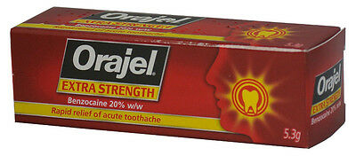 Orajel Extra Strength acute toothache dental gel – 20% w/w Benzocaine 5.3g