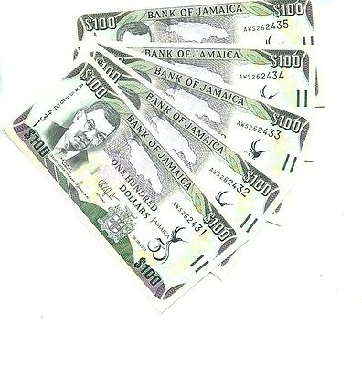 Jamaica 2012 $100 Currency Note Lot Of 5 Consecutive Choice Cu 2427J