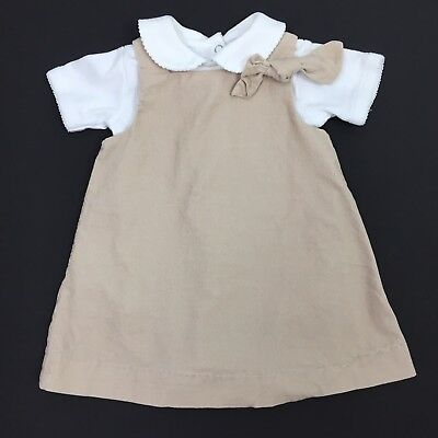 Pottery Barn Kids Baby Girls 0-3 Months 2 Pc Set Beige Corduroy Dress/One Piece