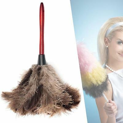 Anti-static Ostrich Feather Fur Brush Duster Dust Cleaning Tools Wood Handle PH