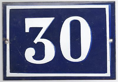Large old French house number 30 door gate plate plaque enamel steel metal sign