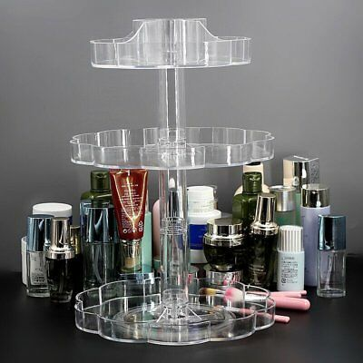 Transparent 360°Rotating Makeup Organizer Case Cosmetic Jewelry Storage HolderGA