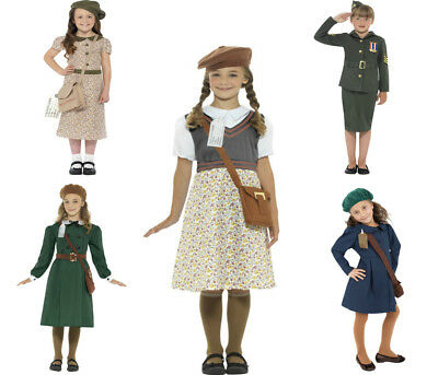 Girls Evacuee Costume WW2 War Fancy Dress