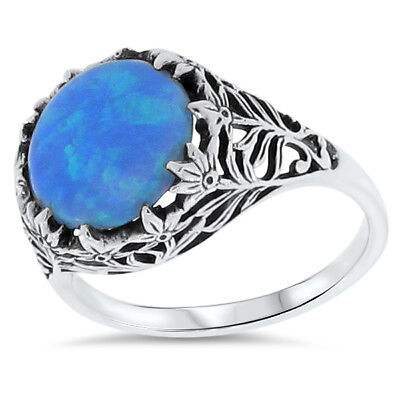 Blue Lab Fire Opal Antique Filigree Design .925 Sterling Silver Ring,        #77