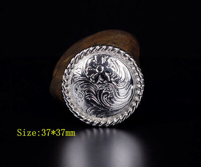 "1-1/2"" SET 6 WESTERN SADDLE BRIGHT SILVER ENGRAVED FLORAL CONCHO screw back"
