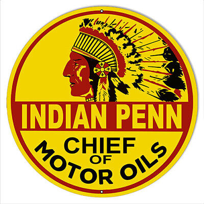 """Indian Penn Motor Oil Reproduction Gas Station Sign 14""""x14"""" Round"""