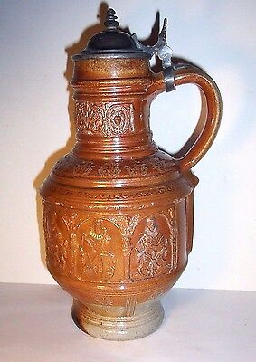 Raeren Stoneware Panel jug Dated 1602