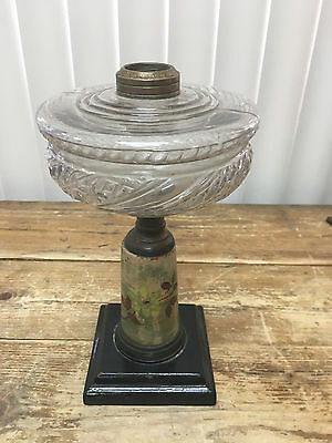 Black Metal Square Base Antique Gas Oil Lamp Font Stem Pottery Vintage RARE