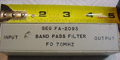Seg 70 MHZ Sealed Band Pass Filter  FA-2083 4-24 1 With SMA Gold connectors