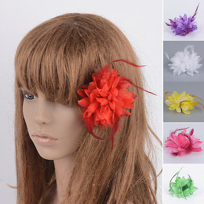 Hot Handmade DIY Fascinator Flower Feather Rose Masquerade Party Clip Accessory