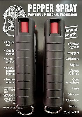 2 PACK Police Magnum pepper spray 3/4oz Black Molded Keychain Defense Security