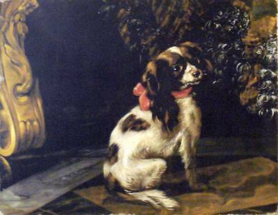 Painting Print On Canvas Dog Cavalier King Charles Rococo Ready to Hang
