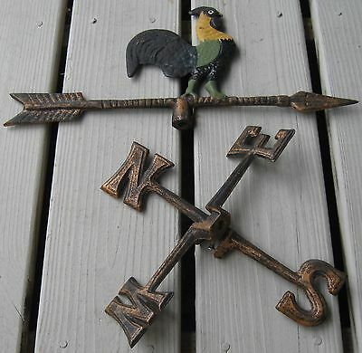 Iron Rooster On Arrow Weathervane W/directionals Nice Paint