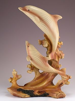 Two Dolphins On Waves Carved Wood Look Figurine Resin 9 Inches High New In Box