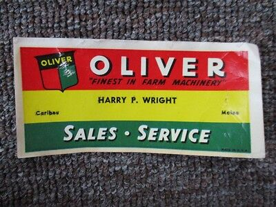 1940s OLIVER FARM EQUIPMENT Dealer DECAL ....Maine