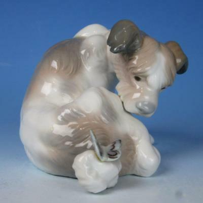 Lladro Porcelain Figure - Cute Dog With Butterfly On His Tail - #4917