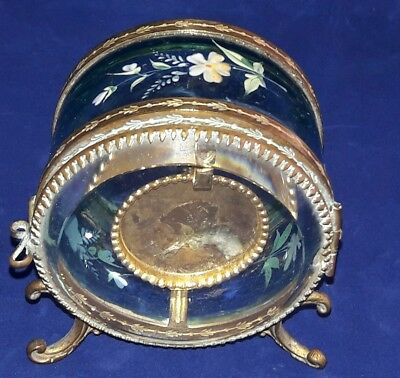 Victorian Blue Glass & Ormolu Bronze Pocket Watch Holder Display Vitrine Box
