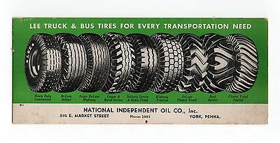 "LEE TRUCK & BUS TIRES Unused Blotter - 3½""x8½"", 9 Diff. Tires, York PA, VG Cond"