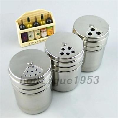 1Pc Salt  Pepper Shakers Sleek Stainless Steel Pots Houseware Tableware New