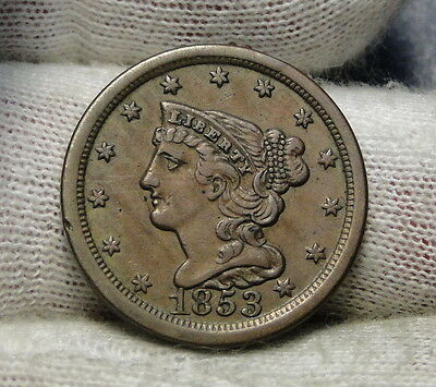 1853 Braided Hair Half Cent - Rare Only 129,694 Minted . Nice Coin (6364)