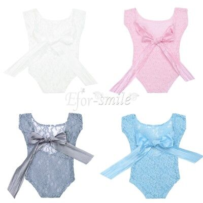 Newborn Baby Girl Boy Lace Costume Photo Photography Prop Straps Outfits Romper