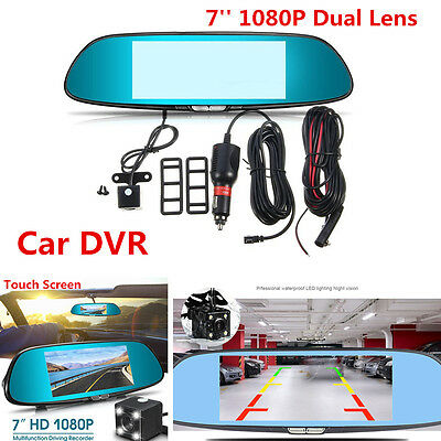 HD 7'' Touch Screen Dual Lens Car DVR Rearview Mirror Video Recorder w/ G-sensor