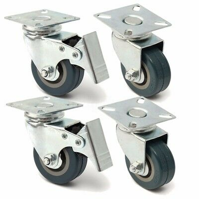 4 x Heavy Duty 50mm Rubber Swivel Castor Wheels Trolley Furniture Caster Brake