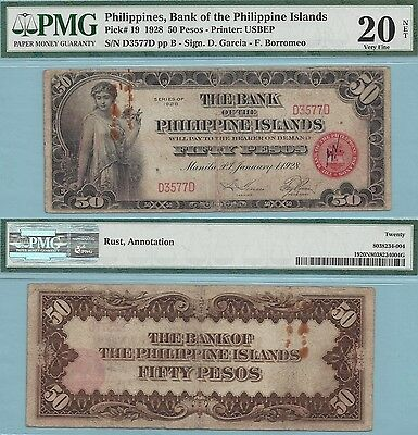 1928 Bank of the Philippine Islands 50 Pesos ~ P19 ~ PMG VF20 Net ~ 4090 Printed