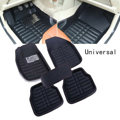 5Pcs Universal Black Car Floor Mats FloorLiner Front&Rear Carpet All Weather Mat