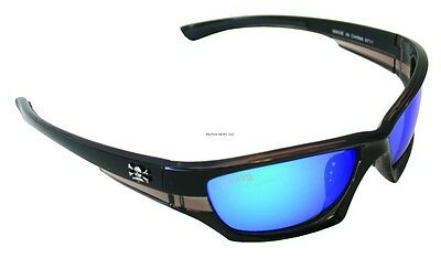 New Polarized Calcutta Long Range Sunglasses Black Frame Blue Mirror Lens LR1BM