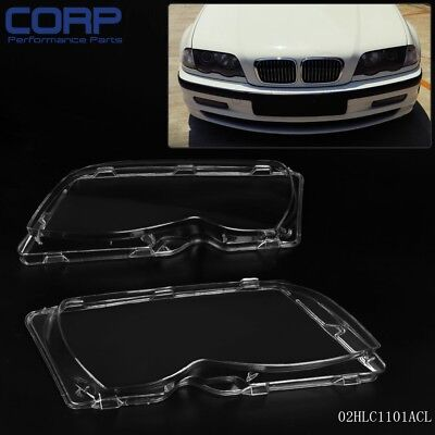 Headlight Lens Cover Polycarbonate Left & Right For BMW E46 3-series 4DR 01-05