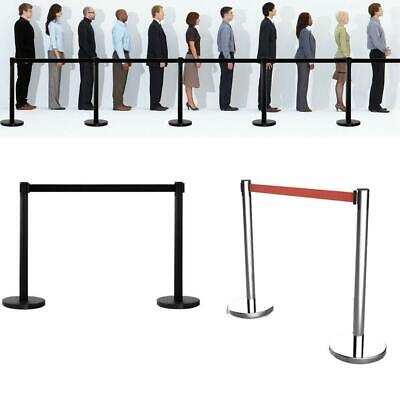 2 Stanchion Set Line Barrier Post Rope Crowd Control Queue Black/Silver Style