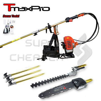NEW TmaxPro 65CC 2IN1 BACKPACK Pole Chainsaw Hedge Trimmer Chain Saw