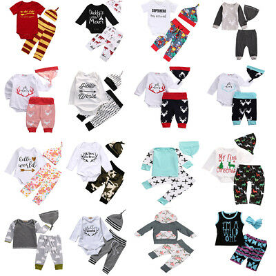UK STOCK Kid Baby Boy Girl Outfits Clothes Cotton Romper T-Shirt Tops+Pants Sets