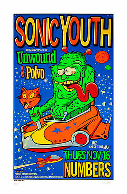 Sonic Youth 1995 Original Silkscreen Concert Poster Houston Uncle Charlie  S/N