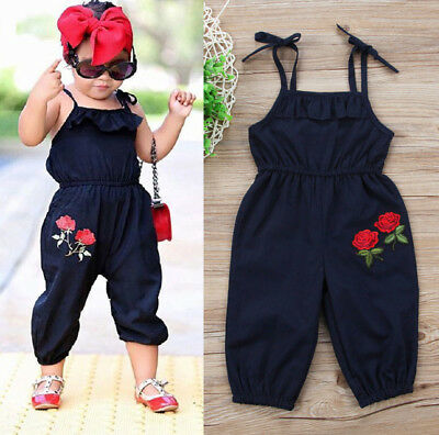 UK Stock Toddler Kids Baby Girls Strap Flower Romper Jumpsuit Playsuit Clothes