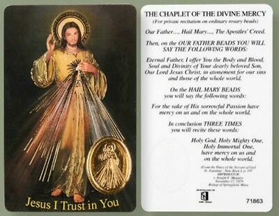Jesus Divine Mercy Laminated Prayer Card + Foil Medal - Statues Pictures Candles