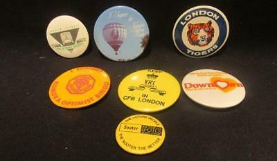 London Ontario Tigers, CFB, Balloon Fest, LTC, Downtown 7 Pinback Buttons 1980s