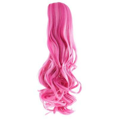 Full Head Wavy Curly Hair Wig for 18'' American Girl Doll DIY Making Pink #8