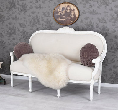 GROSSES SALON SOFA ROKOKO SITZBANK WEISS Couch FRANKREICH SHABBY