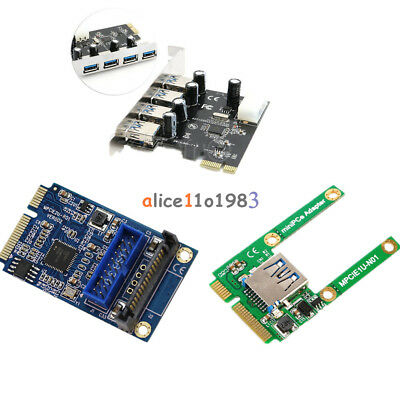 Mini 4 Port PCI-E to USB 2.0/3.0 HUB PCI Express Expansion Card Adapter  Speed